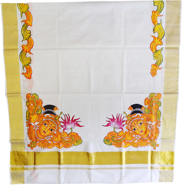 Devi Painted Mural Kerala Saree